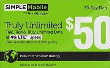 Simple Mobile $50 PLAN REFILL CARD Unlimited LTE FREE SHIPPING
