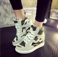 Womens Lace Up Wedge Heel College Sport Sneakers Camo Shoes Casual Zsell