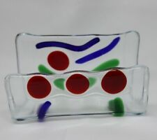 Fused Art Glass Business Card Holder Abstract Blue Green Red Desktop Gl109