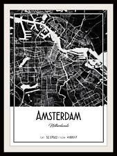 AMSTERDAM CITY MAP POSTER PRINT MODERN CONTEMPORARY CITIES TRAVEL IKEA FRAMES