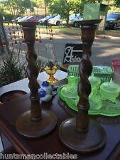 Pair Antique Vintage 1920's Barley Twist English Oak Candlesticks Brass Tops