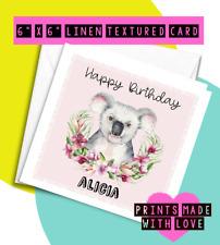 Koala birthday card , personalised , daughter , niece , granddaughter , best