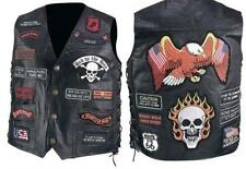 Mens Black Leather Biker Motorcycle Harley Rider Chopper Vest 23 Patches