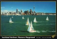 AUCKLAND HARBOUR: PLEASURE PLAYGROUND NEW ZEALAND POSTCARD - YACHTS in BAY NZ PC