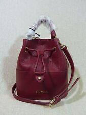 NWT FURLA Rubino Red Leather Mini Brooklyn Bucket Tote Bag $298 Made in Italy