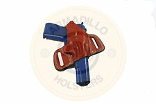 Left Hand Armadillo Tan Leather Butterfly Holster w/strap for 1911  (H3nL) (OWB)