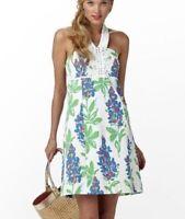 Lilly Pulitzer Women's Isabel Dress Halter Floral Sz 0 Cotton White Multi