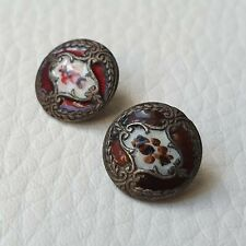 2 Boutons Anciens 1900 Art Nouveau Email 12 mm 2 Enamel Jugendstil Buttons