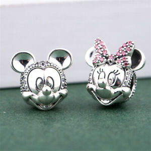 Authentic 925 Sterling Silver Shimmering Mickey & Minnie Portrait CZ Clip Charm
