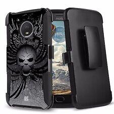 For Moto E4 Hybrid Rugged Armor Clip Protector Case Image Wing Skull