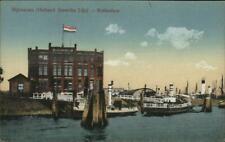 Rijnhaven Holland American Line Ships Rooterdam Netherlands c1910 Postcard