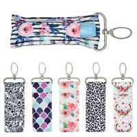 Lip Balm Bag Key Ring Chapstick Holder Printed Lipstick Pouch Key Chain Keyring