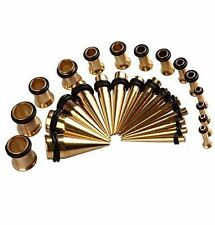 Gold Ear Stretching Kit Plugs & Tapers Ion plated Set 28pc Gauges 12g-0g