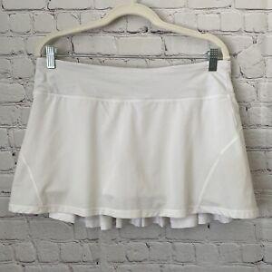 Lululemon   Women's White Pleated Running Skirt/Skirt Built-In Shorts - Size 10
