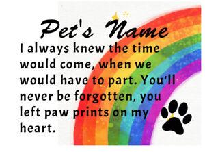 Pet memorial fridge magnet. Can be customised with name. Rainbow bridge inspired