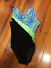 Girls gymnastics leotard Sz Child L Black green blue