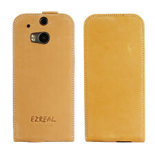 Ezreal Genuine Real Italian Leather Case Flip Cover for HTC One M8 Magnetic Snap
