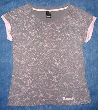 BENCH Women's Grey/Pink Print Short-Sleeved T-Shirt M Medium 10/12 (eu 38/40)