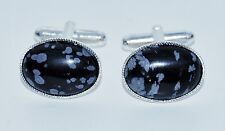 Snowflake Obsidian Gemstone Cufflinks with Silver Plated Backs.