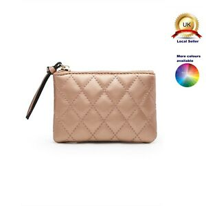 Cute Mini Small Coin Purse Make up Bag Woman Girl Diamond Quilted Faux Leather