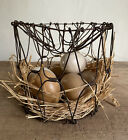 Small Old Antique Collapsible Metal Wire Egg Basket  Patina Pantry  AAFA