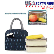 Blue Feather Lunch Bags for Women Portable Insulated Thermal Bag