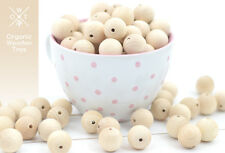50 pcs. Wooden Beads 20mm. Natural Untreated Organic beech wood, made in Europe