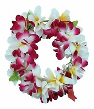 Hawaiian Lei Party Luau Haku Elastic Plumeria Silk Fabric Flower White Pink