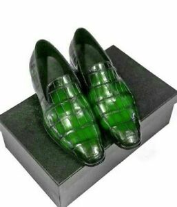 Genuine leather moccasins green crocodile print for men made by hand