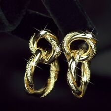 14k yellow gold gf stud earrings dangle contracted pattern twisted rope fashion