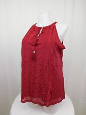 INC Plus Size Tribal Embroidered Tie Front Halter Top 1X Glazed Berry Red #4719