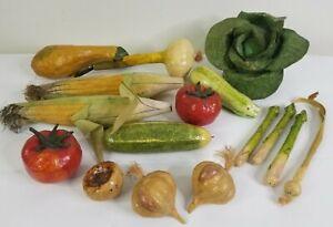 Paper Mache Vegetables 16 Pieces Folk Art Decor Cabbage Corn Onion Tomato Squash