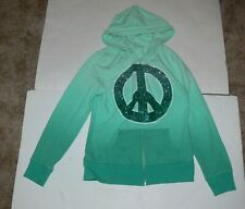 Justice Girls Hoodie Green With Glitter Peace Sign Jacket Size 10 ek