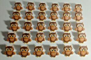 30 Owl Cupcake Rings - Cute Brown Birds