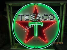 New TEXACO GAS GASOLINE MOTOR OIL PUMP REAL GLASS NEON SIGN Beer Bar LIGHT
