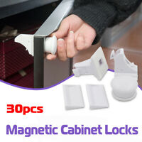 30x Magnetic Cabinet Locks Child Baby Proof Safety Cupboard Door Drawer USA