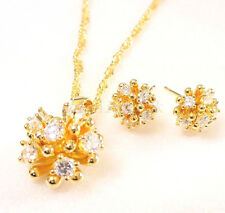fashion1uk 18K vergoldet künstlicher Diamant Blumen Stecker Ohrringe Halskette