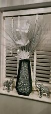 Diamond Crushed Crystal Sparkly Silver Mirrored vase inc flowers
