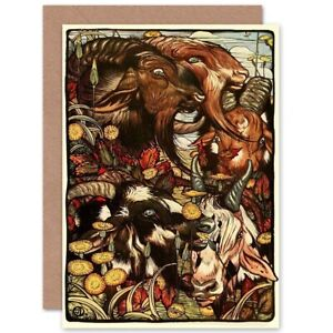 Painting Detmold Wild Goats Aesop Fable Blank Greeting Card With Envelope