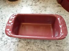 Longaberger Pottery Woven Tradition Paprika Maroon Small Loaf Baking Pan Dish