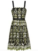 BNWT GINA BACCONI black EDEN floral embroidery fit & flare dress size 12 RRP£299