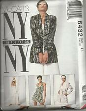 McCall's NY Collection Pattern #6432-Misses Jacket-Halter-Pants-Shorts-Sz 14