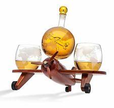 Godinger Whiskey Decanter Airplane Globe Set with 2 World Whisky Glasses -...