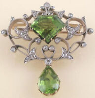 Rose Cut Peridot 925 Sterling Silver Victorian Style Natural Diamond Pin Brooch