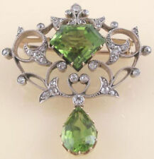925 Sterling Silver Natural Diamond Peridot Brooch Pin Rose Cut Victorian Look