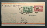 1928 Montreal Canada First Flight Air Mail Cover to Albany New York USA