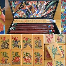 Vtg, Coronet Mahjong Set 152 Catalin Tiles 4 Swing-Back Racks Mah jongg Bakelite