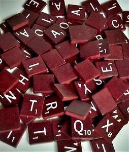 96 EX Vtg Deluxe Edition Wood MAROON SCRABBLE LETTER TILES Burgundy Arts Crafts