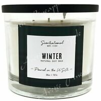 Scentsational Natural Soy Wax 26oz Cotton 3 Wick Christmas Candle Jar - Winter