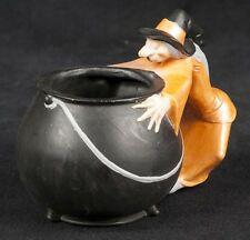 Vtg 77 Byron Molds Halloween Ceramic Haunted Witch Cauldron Candy Bowl
